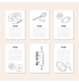 Recipe cards collection with hand drawn bakery vector image vector image