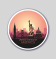 round sticker with abstract landscape city vector image