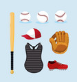 set baseball professional uniform equipment vector image vector image