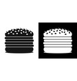 set of icons with burgers on a black and white vector image