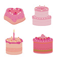 Set of pink sweets cakes vector image vector image