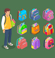 standing boy with books backpacks with stationery vector image vector image