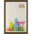 Travel Asia landmarks skyline vintage background vector image