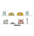turkey ankara flat landmarks vector image