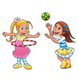 Two girls are playing vector image vector image