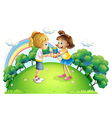 Two girls exchanging gifts at the hilltop vector image vector image