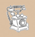 vintage telephone hand draw sketch vector image vector image