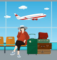 waiting room at the airport with passenger vector image vector image