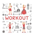 workout banner template people exercising with vector image