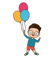 young boy holding balloons vector image vector image