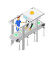 young boy near isometric 3d assembly line vector image