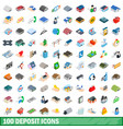 100 deposit icons set isometric 3d style vector image vector image