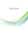 abstract background blue and green waved vector image vector image