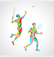 abstract mens doubles badminton players color vector image vector image