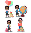 back to school cute afro-american girl is ready vector image vector image