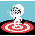 business man jumping with target on floor vector image vector image