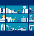 business people and bookshelves concept business vector image