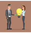 Business woman exchange money to idea with vector image vector image