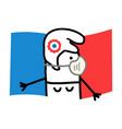 cartoon french symbol woman with flag and mask vector image