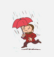 child running in the rain with an umbrella vector image vector image