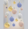 christmas background with christmas balls nacre vector image vector image