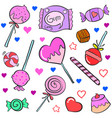 collection candy various colorful doodles vector image vector image