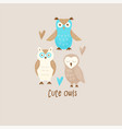 cute owl vector image vector image