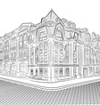 Detailed old buildings on the street corner vector image vector image