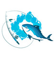 fish in water and fishing rod vector image vector image