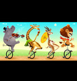 Funny wild animals on unicycles vector image vector image