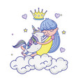 girl hugging unicorn in the clouds with crown and vector image