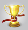Golden metallic trophy cup winner award vector image vector image