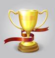 Golden metallic trophy cup winner award vector image