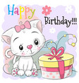 greeting birthday card cute kitten with gift vector image vector image