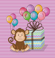 happy birthday card with cute monkey vector image vector image