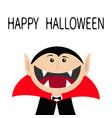 happy halloween count dracula head face wearing vector image