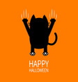 happy halloween greeting card cartoon black cat vector image vector image