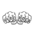 hard rock words fist tattoo vector image