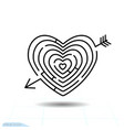 heart maze arrow heart icon love sign valentines vector image vector image