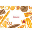 horizontal banner decorated with breads and baked vector image vector image