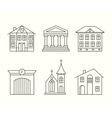 House building icons set in line style vector image vector image