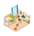 kids room interior for childrens with desk sofa vector image vector image