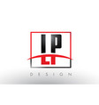 lp l p logo letters with red and black colors and vector image vector image