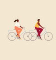 man and woman on bicycles vector image vector image