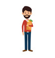 man with bag of groceries vector image vector image
