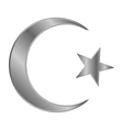 Metal star and crescent icon vector image vector image