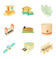 outskirt icons set cartoon style vector image vector image