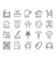 pool equipment simple black line icons set vector image