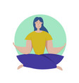 pretty young girl practices yoga in lotus vector image vector image