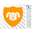 puppy shield flat icon with bonus vector image